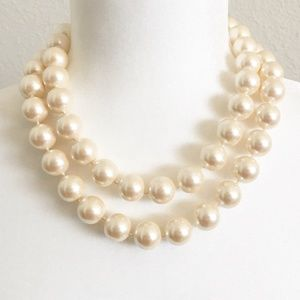Vintage Monet Two-Strand Chunky Pearl Necklace